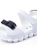 Girls' Flats Comfort Spring Fall PU Walking Shoes Casual Magic Tape Low Heel White Black Flat