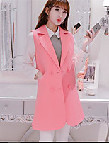 Women's Casual/Daily Simple Spring Blazer,Solid Notch Lapel Sleeveless Regular Other