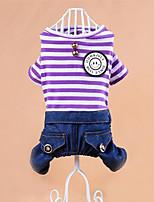 Chien Combinaison-pantalon Vêtements pour Chien Décontracté / Quotidien Bande Violet Rose