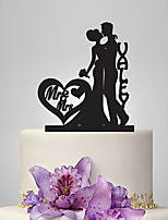 Personalized Acrylic Romantic Kiss Wedding Cake Topper