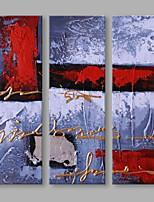 Ручная роспись Абстракция Вертикальная,Художественный 3 панели Холст Hang-роспись маслом For Украшение дома