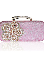 Women Evening Bag Polyester All Seasons Wedding Event/Party Formal Baguette Rhinestone Pearl Detailing Clasp LockBlushing Pink Silver