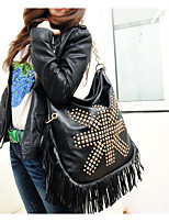 Women Shoulder Bag PU Canvas All Seasons Casual Outdoor Round Zipper Black
