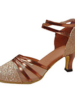 Women's Latin Silk Sandals Performance Criss-Cross Stiletto Heel Gold 3
