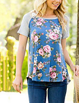 Women's Holiday Going out Casual/Daily Vintage Street chic Summer T-shirt,Floral Round Neck Short Sleeve Cotton