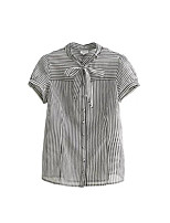 Women's Daily Casual Simple Shirt,Striped Round Neck Short Sleeve Polyester