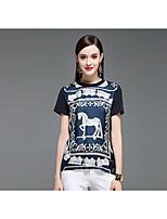 CELINEIA Women's Casual/Daily Boho T-shirtPrint Round Neck Short Sleeve Silk Cotton