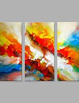 Ручная роспись Абстракция Вертикальная,Художественный Абстракция 3 панели Холст Hang-роспись маслом For Украшение дома