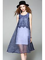 Mujer Gasa Vestido Noche Casual/Diario Simple Bonito,Un Color Escote Redondo Hasta la Rodilla Sin Mangas Poliéster Primavera VeranoTiro