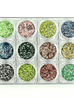 12PCS Marble Powder Nail Flakes Shining Nails Glitter Manicure DIY Nail Sequins Dust Nails Art Decorations 135g/PC