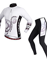 WOSAWE Cycling Jersey with Tights Unisex Long Sleeves Bike Clothing Suits Cycling Polyester Classic Spring/Fall Cycling/Bike White