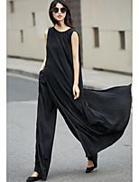 Damen Solide Retro Einfach Alltag Normal Tank Tops,Rundhalsausschnitt Ärmellos Baumwolle Polyester