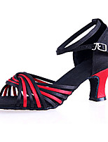 Women's Latin Silk Sandals Beginner Buckle Cuban Heel Black/Red 2