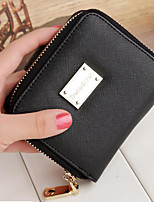 Women Money Clip PU All Seasons Casual Square Clasp Lock Blushing Pink Green Black