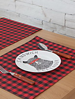 Simple Red And Black Striped Lattice Cotton And Linen Table Placemat 32*45cm