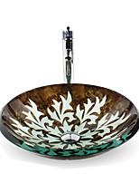 Round Sink Material is Glass Bathroom Sink Bathroom Faucet Bathroom Mounting Ring Bathroom Water Drain
