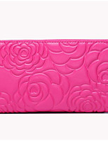 Women Checkbook Wallet Cowhide All Seasons Casual Rectangle Zipper Ruby Fuchsia Black