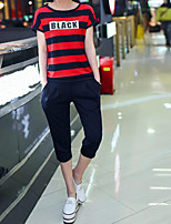 Women's Casual/Daily Casual Summer T-shirt Pant Suits,Striped Quotes & Sayings Round Neck Short Sleeve Micro-elastic
