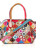 Women Tote Cowhide All Seasons Casual Rectangle Petals Split Joint Flower Plaid Zipper Rainbow