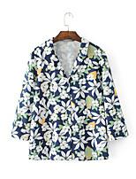 Feminino Camisa Social Para Noite Casual Sensual Simples Moda de Rua Verão,Floral Algodão Colarinho de Camisa Manga Longa Fina Média