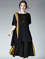 Damen Einfarbig Einfach Sport Lässig/Alltäglich T-Shirt-Ärmel Hose Anzüge,Rundhalsausschnitt Sommer Kurzarm Mikro-elastisch