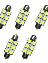 Lampe de dôme de fête de voiture 5pcs 39mm 1w 6smd 5050 puce blanc 80-100lm 6500-7000k dc12v lampe de lecture lumières plaque