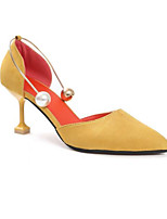 Women's Heels Comfort Spring Summer PU Casual Black Yellow 3in-3 3/4in