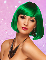 Women's Cosplay Party Synthetic Fiber Short Straight GreenWhitePinkBob Hair Full Wigs