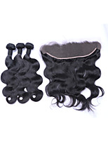 Free Part 4x13 Ear To Ear Lace Frontal Closures with Baby Hair with 3 Bundles 300g Brazilian Remy Human Hair #1B Body Wave Wefts/Extensions/Weaving