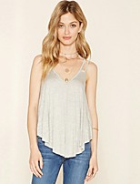 Women's Holiday Going out Street chic Spring Summer Tank Top,Solid V Neck Sleeveless Cotton Sheer