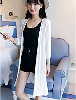 Women's Other Casual Long Cardigan,Solid Round Neck Long Sleeve Silk Summer Semi-opaque Micro-elastic