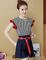 Women's Casual Simple Summer T-shirt Pant Suits,Striped Round Neck Short Sleeve Micro-elastic