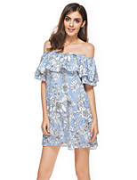 ANGELL Women's Going out Casual/Daily Simple Street chic A Line DressStriped Floral Boat Neck Mini Short Sleeve Chiffon Summer High Rise