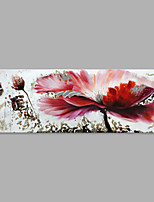 IARTS® Hand Painted Modern Abstract Big Red Flower with Lotus Bud on Canvas Stretched Frame Handmade Oil Painting For Home Decoration Ready To Hang