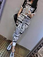 Damen Druck Einfach Lässig/Alltäglich T-Shirt-Ärmel Hose Anzüge,Rundhalsausschnitt Sommer Kurzarm Mikro-elastisch