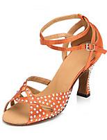 Damen Latin Seide Sandalen Sneakers Professionell Strass Verschlussschnalle Blockabsatz Braun 5 - 6,8 cm Maßfertigung