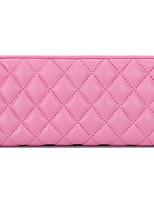 Women Checkbook Wallet Sheepskin All Seasons Casual Rectangle Zipper Blushing Pink Fuchsia Black