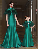 Mermaid / Trumpet High Neck Court Train Satin Mikado Formal Evening Dress with Beading Feathers / Fur Bandage by