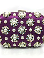 Women Evening Bag Metal All Seasons Event/Party Rectangular Push Lock Purple Pale Pink Black