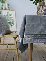 Nordic Rectangular Embroidery Craft Cotton And Linen Table Cloth 90*90cm