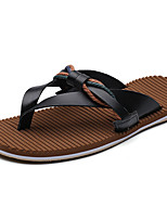 Men's Slippers & Flip-Flops Novelty PU Summer Casual Novelty Brown Black White Flat