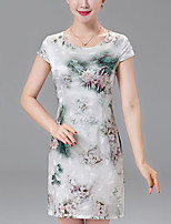 Women's Plus Size Casual/Daily Sophisticated Shift Dress,Floral Round Neck Above Knee Short Sleeve Polyester Summer Mid Rise Inelastic