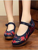 Feminino Sapatos De Casamento Conforto Tecido Primavera Casual Preto 5 a 7 cm