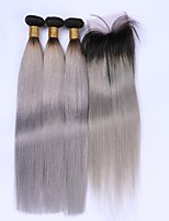 Beata Hair Ombre Human Weft Hair Weave Straight 1B/Grey 7A Brazilian 3 Bundles With Lace Top Closure Silver Hair Extensions