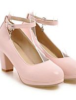 Women's Shoes PU Spring Comfort Heels For Casual White Black Blushing Pink Almond