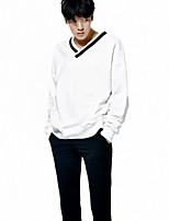 Men's Going out Sweatshirt Solid V Neck Micro-elastic Polyester Spandex Long Sleeve Fall Winter