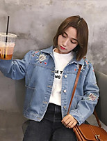Women's Going out Simple Spring Denim Jacket,Solid Shirt Collar Long Sleeve Short Polyester