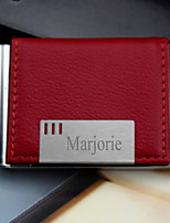 Personalized Graceful Business Burgundy Card Holder With Leatherette Cover