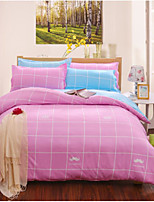 Solid 4 Piece Cotton Cotton 4pcs (1 Duvet Cover, 1 Flat Sheet, 2 Shams)