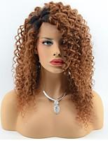 Cheveux vierges brésiliens et boucles d'oreille en laine bouclés devant perruques pour femmes noires 2 tons ombre t1b / 30 couleur partie